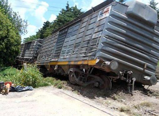 Descarriló un tren y volcó su formación