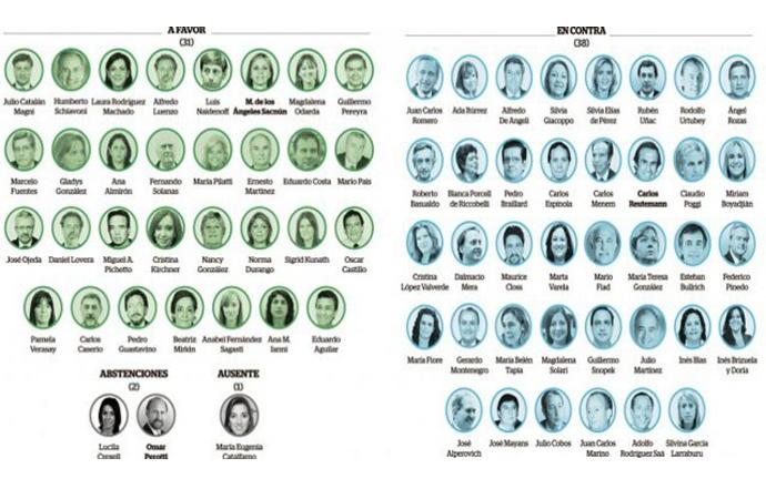 """Los senadores santafesinos dividieron el voto entre """"sí"""", """"no"""" y """"ni"""""""