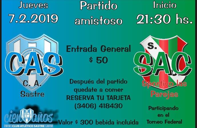 Atlético Sastre se mide con Sportivo Las Parejas en un amistoso