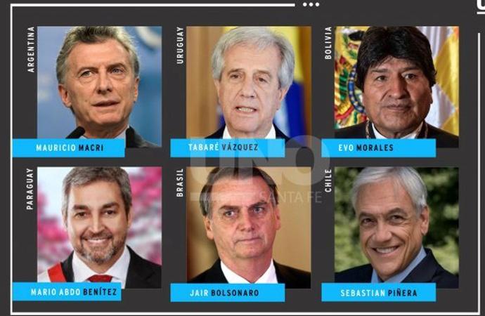 Los seis presidentes que estarán en Santa Fe para la Cumbre del Mercosur